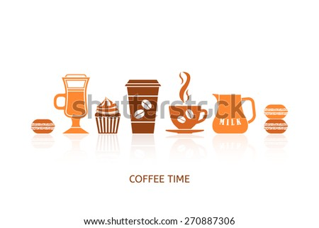 Coffee icons set in minimalistic style. Flat coffee icons. Coffee time concept. Vector illustration EPS 10. - stock vector