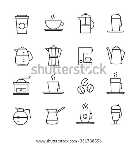 Coffee icons set - thin line design. Coffee cups, pots, various coffee drinks. - stock vector
