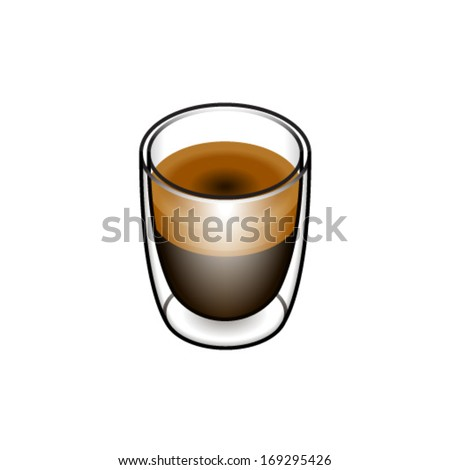 Coffee in a delicate double-walled glass - short black.