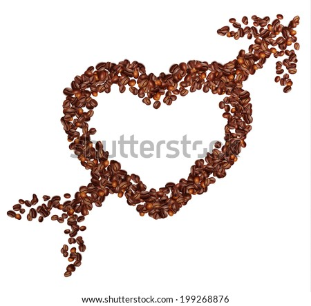 Coffee in grains. Heart and Arrow. Vector and raster image.  - stock vector