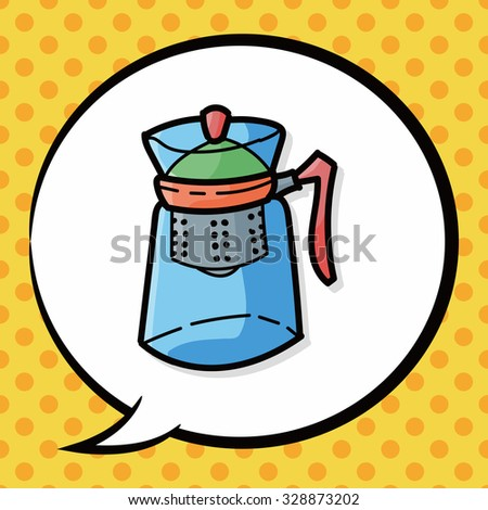 Coffee Kettle Maker Color Doodle Speech Stock Vector 328873202 ...