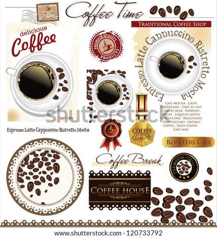 Coffee  label set - stock vector