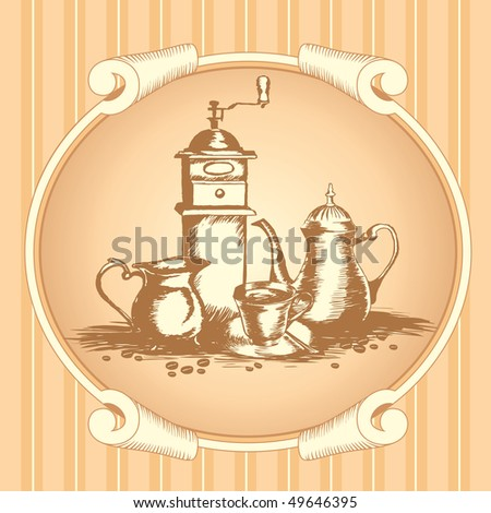 coffee label with a still life in the old graphic style - stock vector