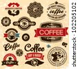 Coffee labels and badges. Retro style coffee vintage collection. - stock vector