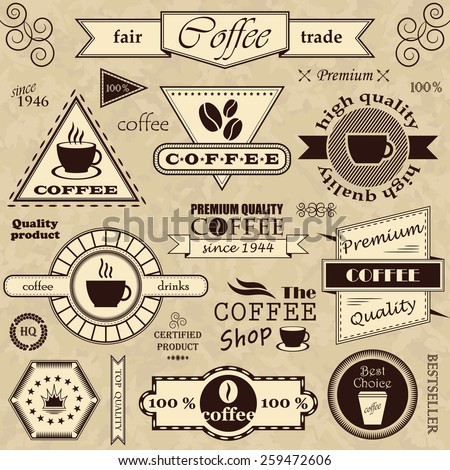 Coffee labels and badges. Retro style. Coffee vintage collection     - stock vector