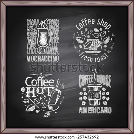 Coffee labels design on chalkboard background - stock vector
