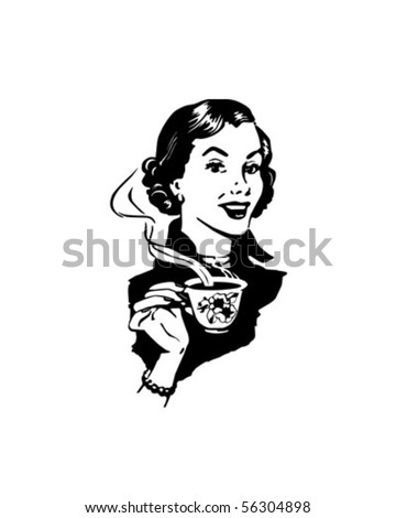 Coffee Lady - Retro Clip Art - stock vector