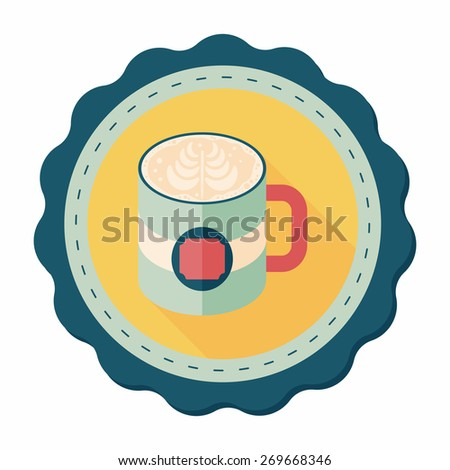 coffee latte art flat icon with long shadow,eps10 - stock vector