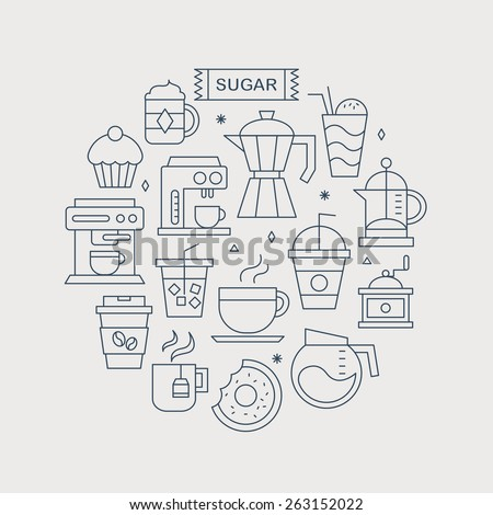 Coffee line icon circle set - stock vector