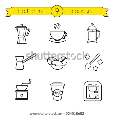 Coffee linear icons set. French press and Italian stove top coffee maker thin line drawings. Takeaway paper cup and coffee mill. Espresso machine and roasted coffee beans outline illustrations.   - stock vector
