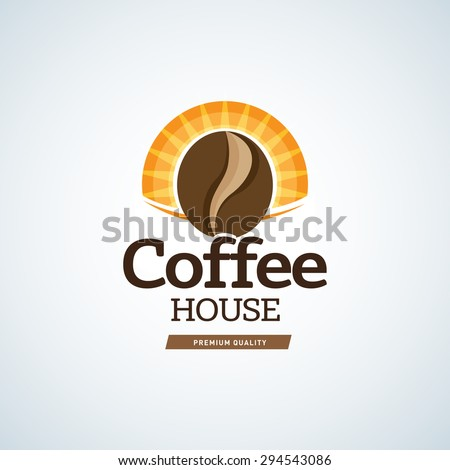 Coffee logo template. Cafe house logotype template. Cafe emblem sign. Cafeteria symbol. Vector illustration. - stock vector