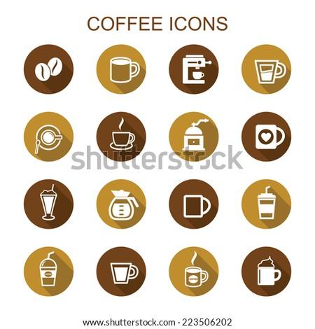 coffee long shadow icons, flat vector symbols - stock vector