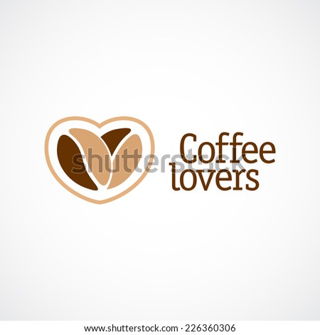 Coffee love logo template. Two beans with heart shape concept. - stock vector