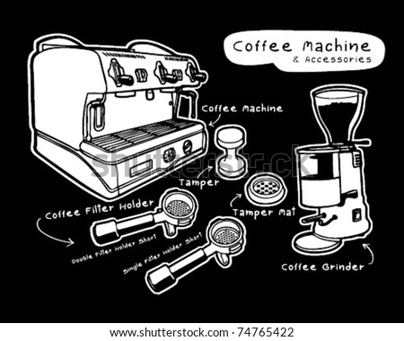 Coffee machine and accessories - stock vector