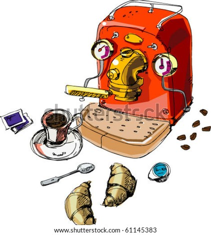 coffee-machine and croissants - stock vector