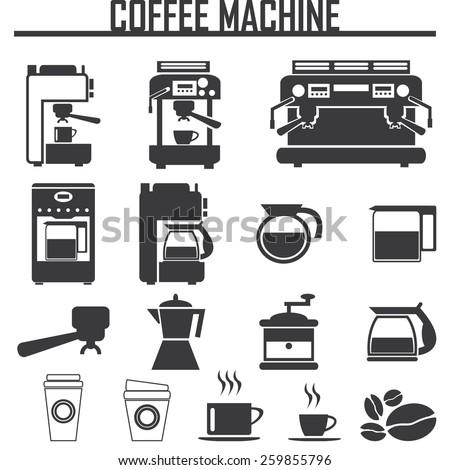 coffee machine icons - stock vector