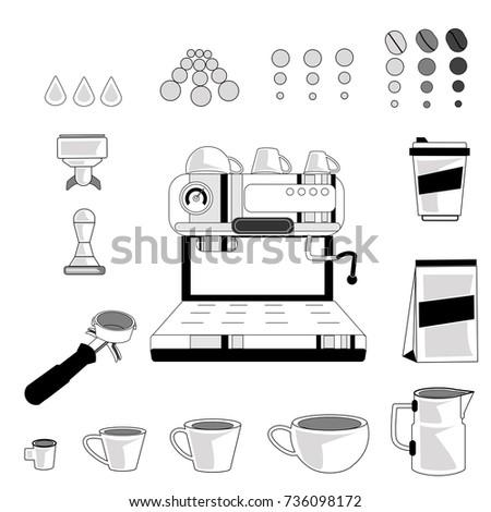 Coffee Machine Vector Flat Icon Set