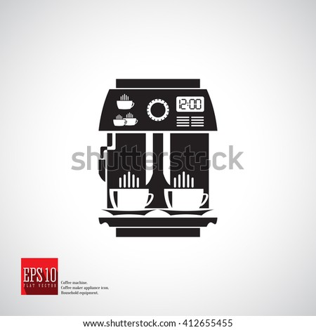 Coffee Machine Vector Icon Espresso For Ground With Whipping Milk Latte