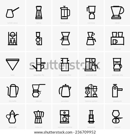 Coffee maker icons - stock vector
