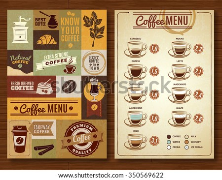 Coffee menu board for bar cafe restaurant vintage style 2 vertical banners composition abstract isolated  vector illustration - stock vector