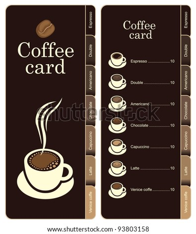 coffee menu card for different types of coffee - stock vector