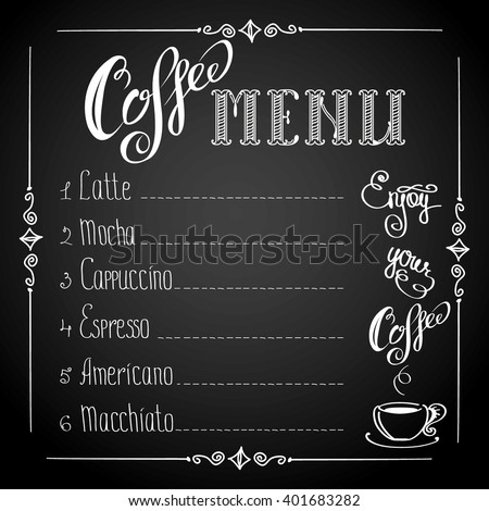 coffee menu on black background, vector illustration