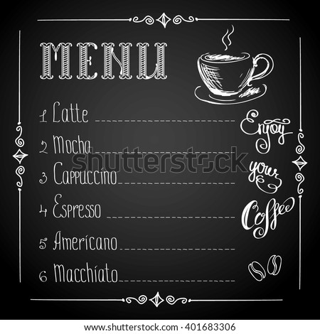 coffee menu on black background, vector illustration - stock vector