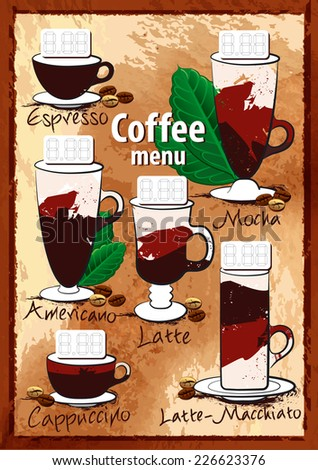 Coffee menu. Stylized coffee cups on paper background.  Elements in a file with transparency. - stock vector