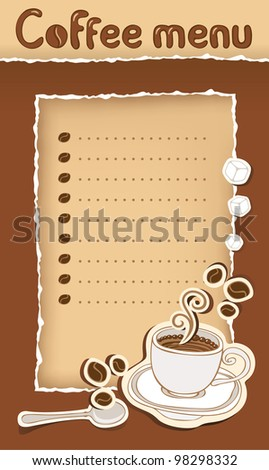 coffee menu with cup and beans - stock vector