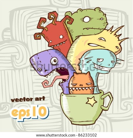coffee monster. Vector Illustration - stock vector