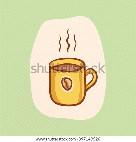 Coffee mug sketchy vector clipart. Vector design hot Coffee element. Sketch for coffee house flyer, banner, ad, package, poster. Hand drawn mug of hot Coffee with Coffee bean. Hot Coffee vector icon - stock vector