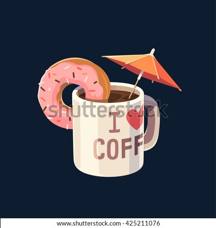 Coffee mug with umbrella. Concept vector illustration. - stock vector