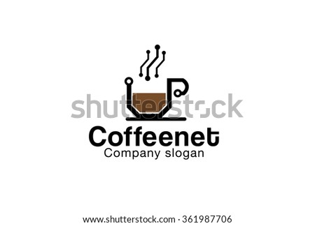 Coffee Network Design Illustration - stock vector