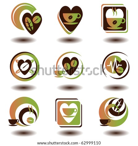 coffee or tea and hot beverages symbol set - stock vector