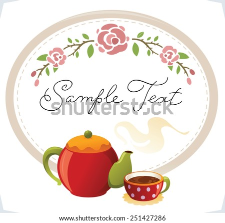 Coffee or tea background. Card with cups, teapot and flowers.