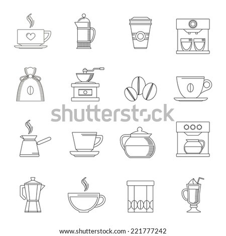 Coffee outline icons set with turk pouch jar isolated vector illustration - stock vector