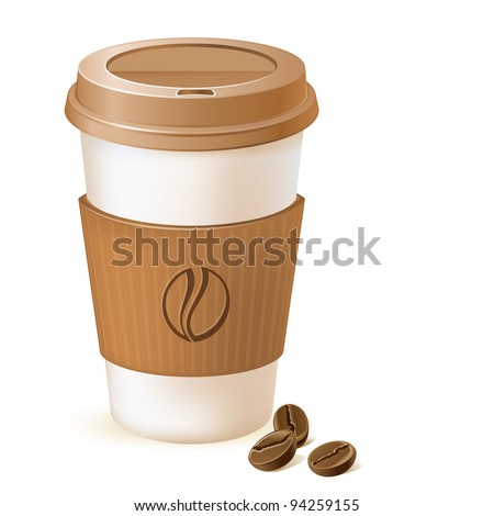 coffee paper cup with cardboard sleeve and beans - stock vector