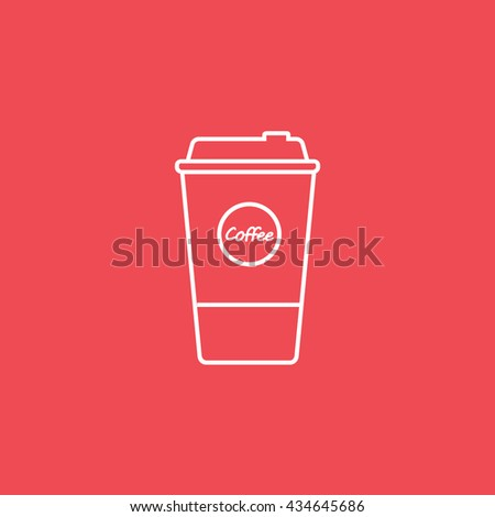 Coffee Plastic Cup Line Icon On Red Background - stock vector