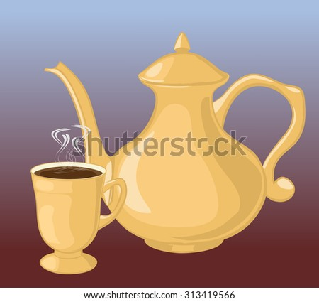 Coffee pot and coffee Cup. - stock vector