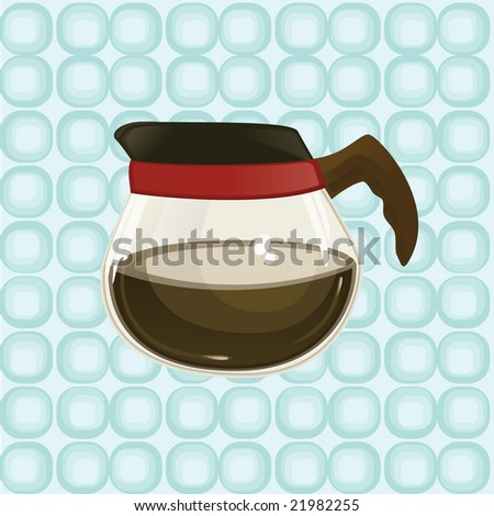 coffee pot on patterned background - stock vector