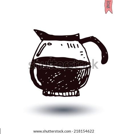 Coffee pot, Vector isolated  - stock vector