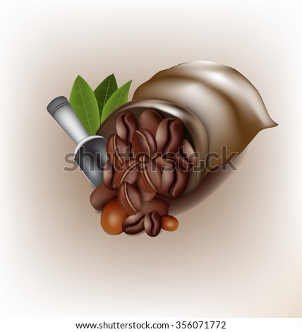 Coffee poured out of the sack vector design - stock vector