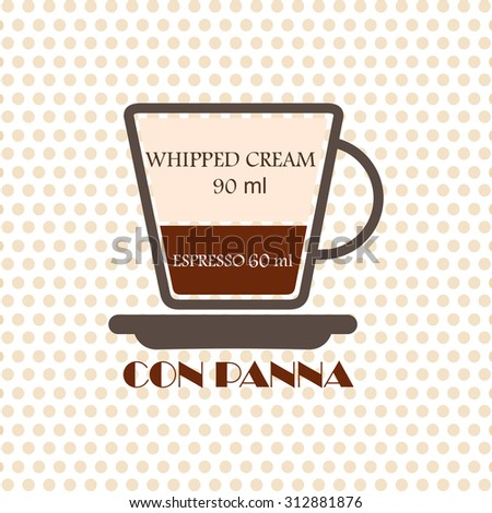Coffee recipe Con Panna - stock vector