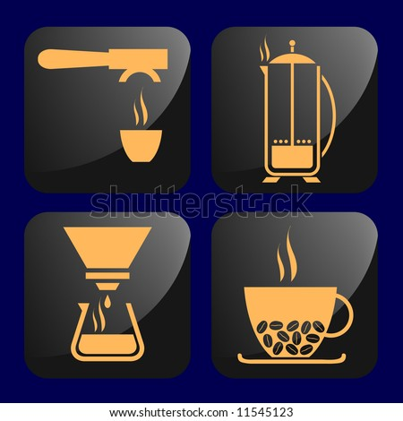 coffee related icons - stock vector