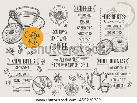 Coffee restaurant brochure vector coffee shop stock vector coffee restaurant brochure vector coffee shop menu design vector cafe template with hand malvernweather Image collections