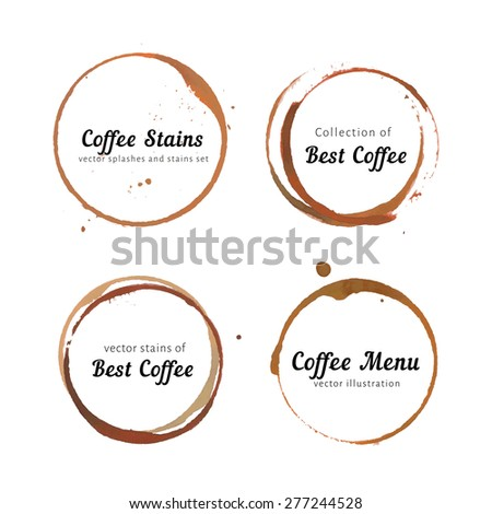 Coffee Ring Stain For Card Logo List Menu Vector Set Of Isolated