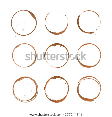 Coffee ring stain for coffe card, coffee logo, coffe list, coffe menu. Vector set of isolated coffe stain ring. Coffe stain logo design. Coffe cup ring stain for logo design. Watercolor coffe mug mark
