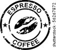 Coffee rubber stamp - stock photo