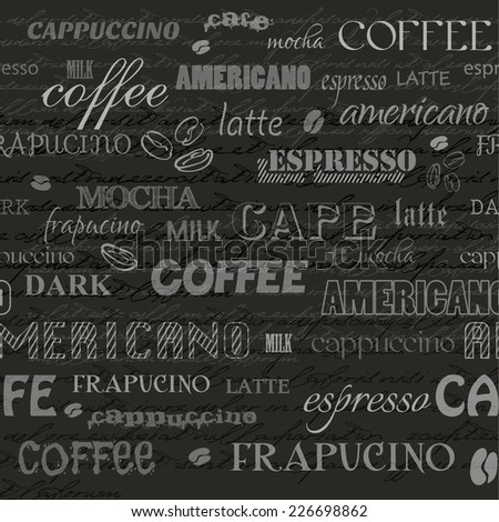 coffee, seamless background, file masked and layered  - stock vector