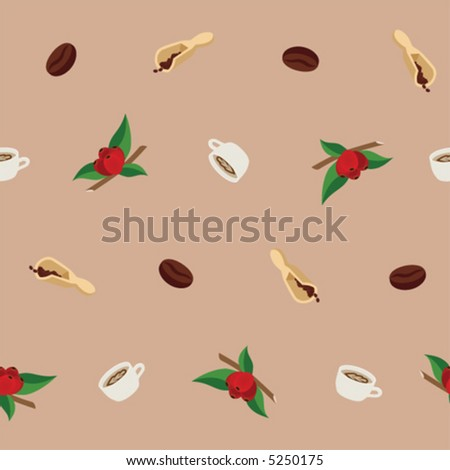 Coffee seamless background pattern with coffee berries, beans, wooden scoops and cups of esspresso (vector illustration, each component in a separate layer) - stock vector